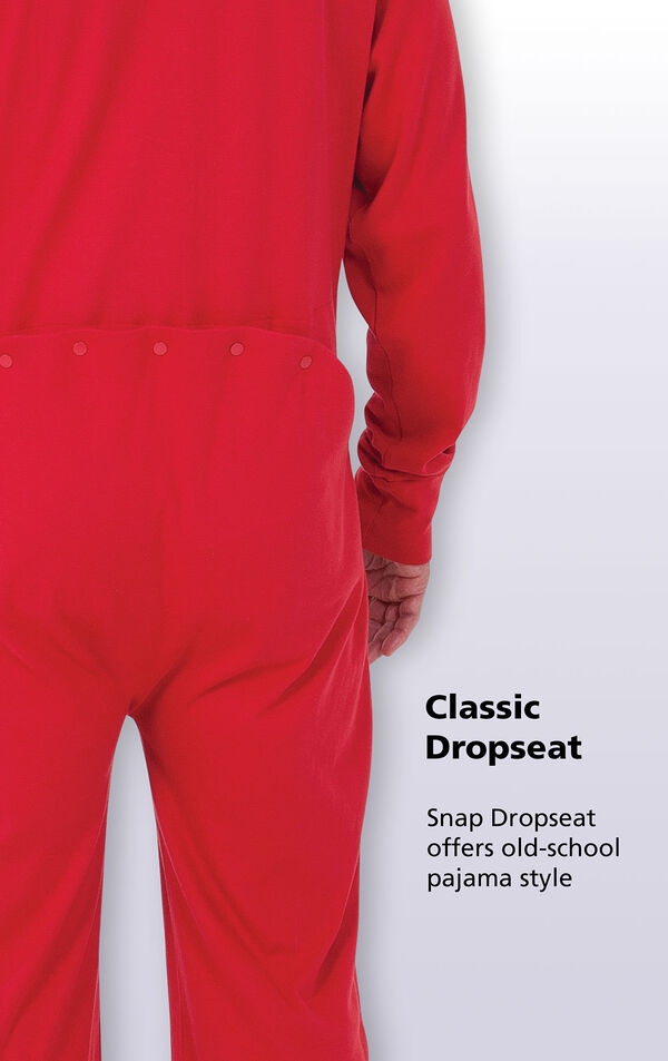 A close-up of the Classic Dropseat on Red Dropseat Men's Pajamas with the following copy: Snap Dropseat offers old-school pajama style image number 3