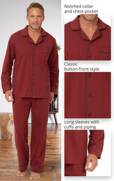 Men's classic button-front pajamas feature a notched collar and chest pocket, classic button-front style and long sleeves with cuffs and piping image number 3