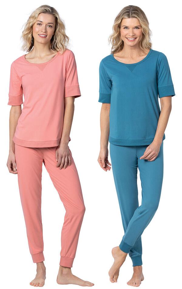 Models wearing Addison MeadowWhisper Knit Joggers - Coral and Addison MeadowWhisper Knit Joggers - Teal image number 0