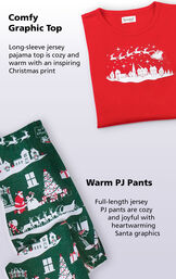 Comfy Graphic Top: long-sleeve jersey pajama top is cozy and warm with an inspiring Christmas print. Full-length jersey warm PJ pants are cozy and joyful with heartwarming Santa graphics. image number 2