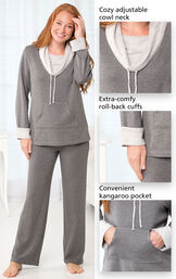 Close-Ups of Charcoal World's Softest PJs features which include a cozy adjustable cowl neck, extra-comfy, roll-back cuffs and a convenient kangaroo pocket. image number 2