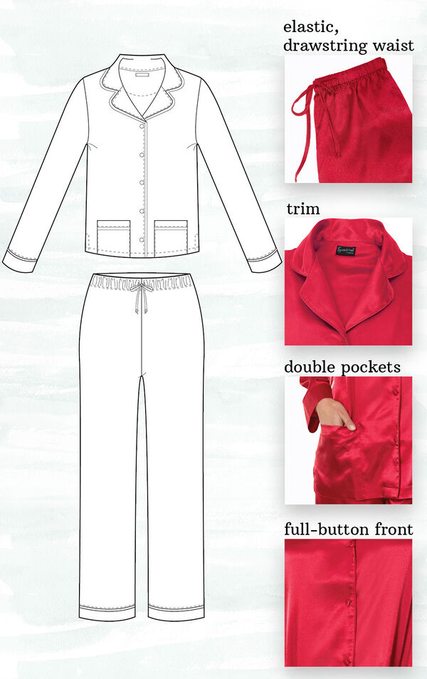 A technical drawing of Red Satin PJs highlighting the following features - elastic, drawstring waist, trim, double pockets and full-button front image number 1