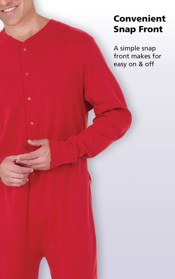 Close-up of the Convenient Snap Front on Red Dropseat Men's Pajamas with the following copy: A simple snap front makes for easy on and off image number 2