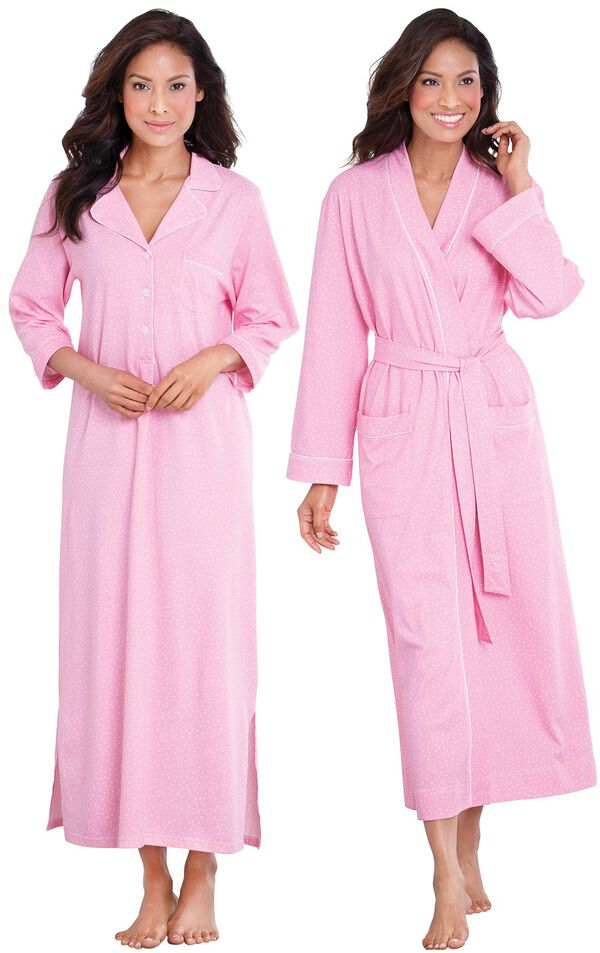 Models wearing Classic Polka-Dot Nighty - Pink and Classic Polka-Dot Robe - Pink. image number 0