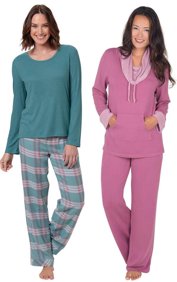 World's Softest Teal Plaid Flannel PJs and Raspberry Pajama Set image number 0