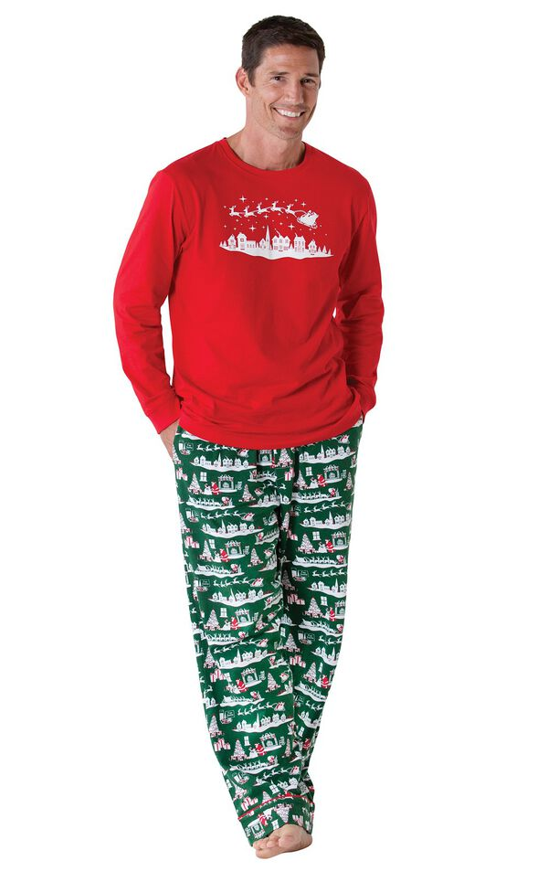 Model wearing Red and Green Night Before Christmas PJ for Men image number 0