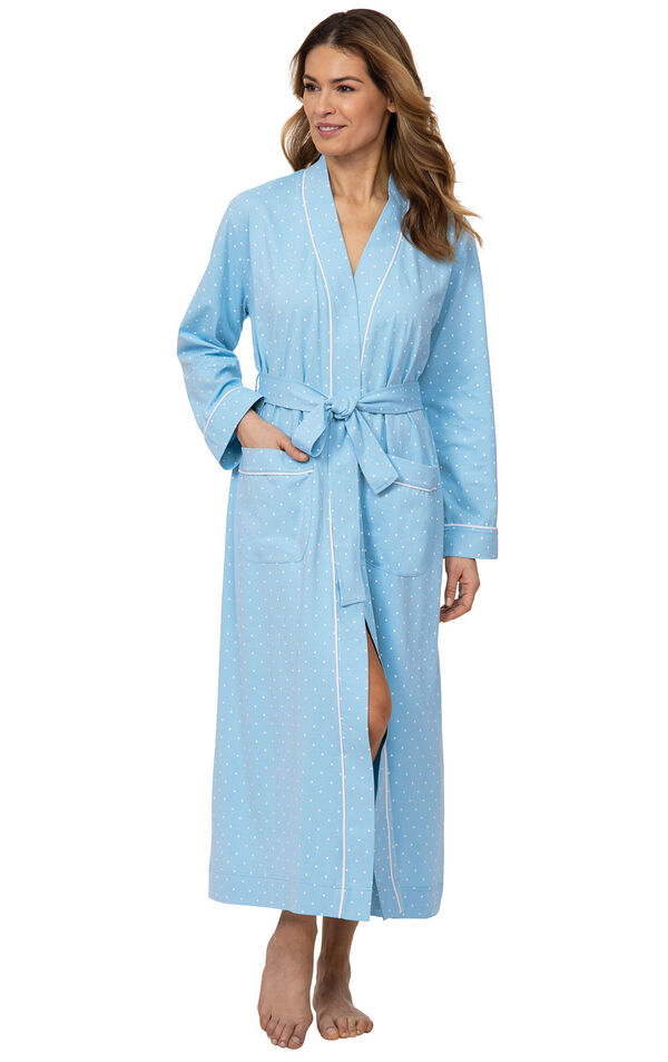 Model wearing Blue with White Polka Dot Wrap Robe for Women image number 0