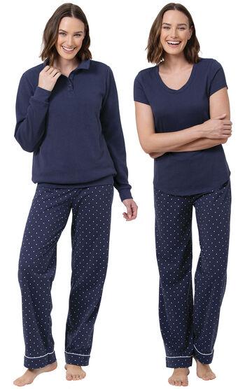 Classic Polka-Dot 3-Piece Pajama Set - Navy