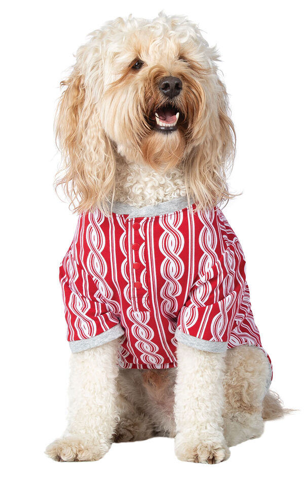Model wearing Red and White Peppermint Twist PJ - Pet image number 0