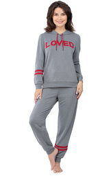 Model wearing Gray Hoodie with Jogger Pant PJ for Women image number 0