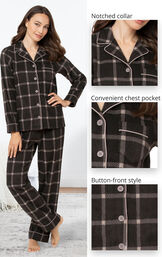 Gray Check Fleece Button-Front PJ His & Hers image number 2