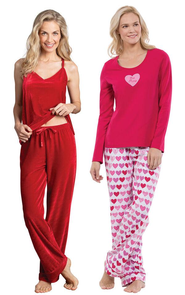 Models wearing Velour Cami Pajamas - Ruby and Be Mine Pajamas. image number 0