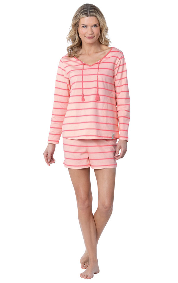 Model wearing Pink Margaritaville Long Sleeve Striped Short Set for Women image number 0