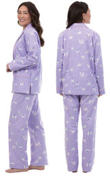 Model wearing Purple Purrfect Flannel Boyfriend Pajamas, facing away from the camera and then facing to the side image number 1