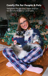 Woman and her two cats wearing matching Snowfall Plaid Pajamas by the Christmas Tree. Comfy PJs for People and Pets! image number 2