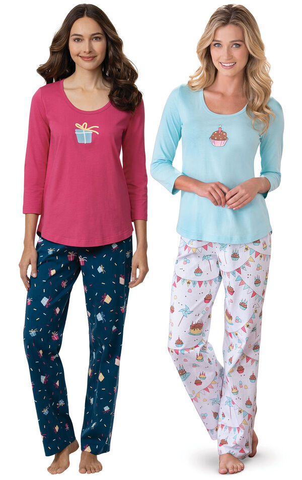 Models wearing Let's Celebrate Pajamas - Navy and Happy Birthday Pajamas