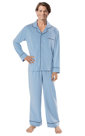 Men's Solid Knit Button-Front Pajamas - Light Blue