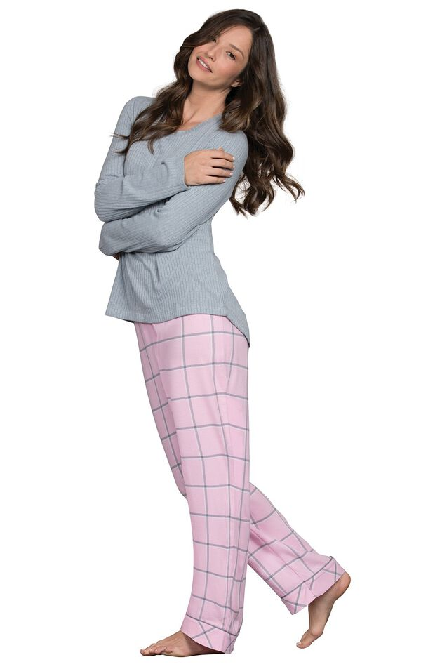 Model wearing Light Pink and Gray Plaid Thermal Top PJ for Women image number 0