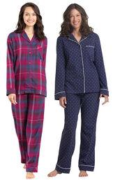 Models wearing World's Softest Flannel Boyfriend Pajamas - Black Cherry Plaid and Classic Polka-Dot Pajamas - Navy.