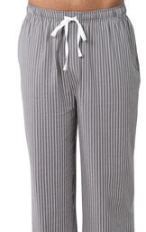 Full-length Gray and White Stripe Pajama Pants for Men with an elastic, drawstring waist image number 2