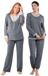 Models wearing World's Softest Pajamas - Charcoal and World's Softest Jogger Pajamas - Charcoal.