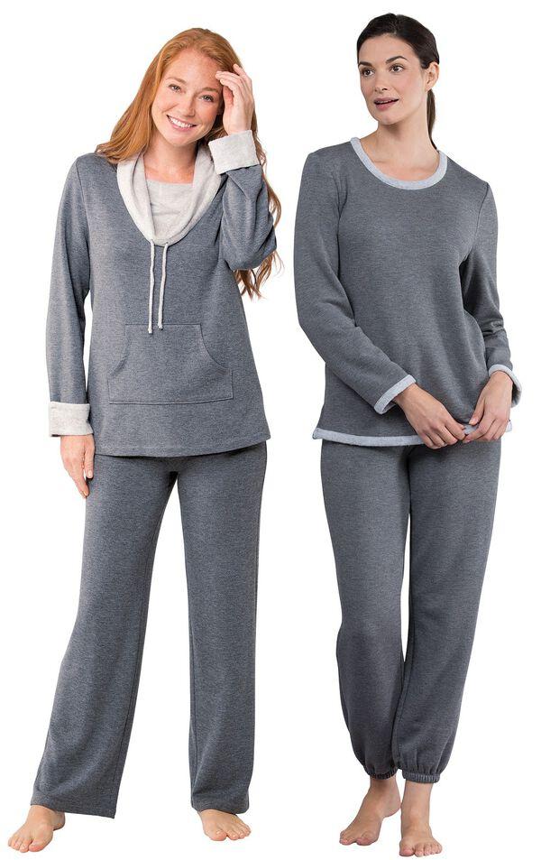 Models wearing World's Softest Pajamas - Charcoal and World's Softest Jogger Pajamas - Charcoal. image number 0