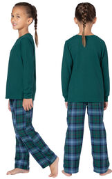 Model wearing Green and Blue Plaid Thermal-Top PJ for Girls, facing away from the camera and then facing to the side image number 1