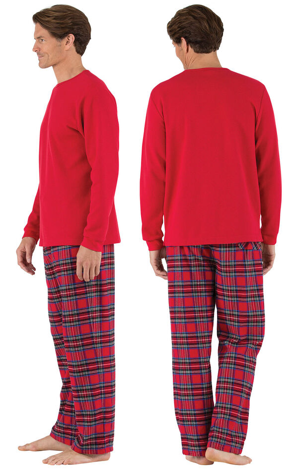 Model wearing Red Classic Plaid Thermal Top PJ for Men, facing away from the camera and then to the side image number 1