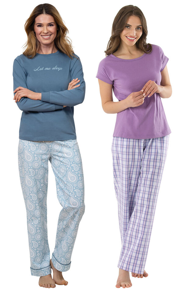 "Models wearing ""Let Me Sleep"" Pajamas and Perfectly Plaid Pajamas image number 0"