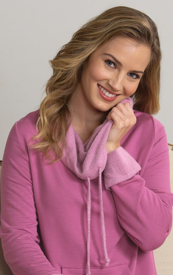 Close-up of World's Softest Pajamas  cowl neck with drawstring image number 1