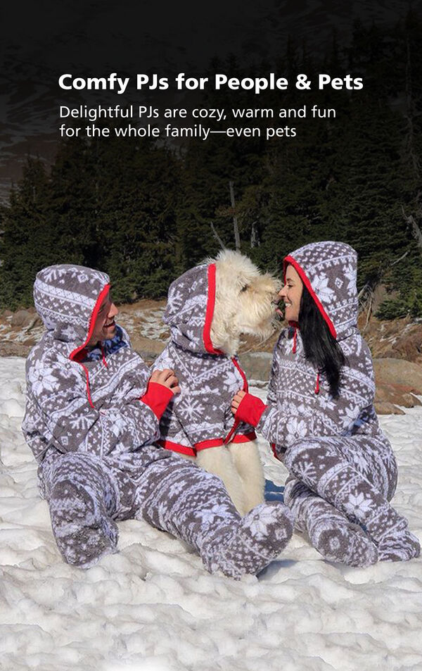Customer Photo of Adults and Dog playing in the snow wearing matching Hoodie-Footie - Gray Fair Isle Fleece - Matching Pet and Owner PJs with the following copy: Comfy PJs for People and Pets. Delightful PJs are cozy, warm and fun for the whole family, even pets. image number 3