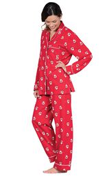 Model wearing Red St. Nick Boyfriend Pajamas, standing to the side image number 2