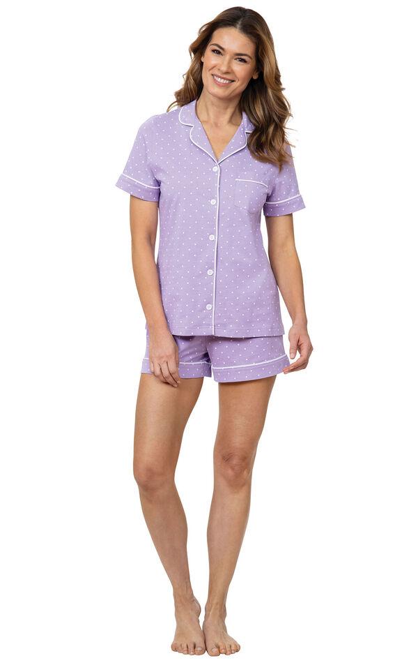 Model wearing Lavender Short Set with White Polka Dots image number 0