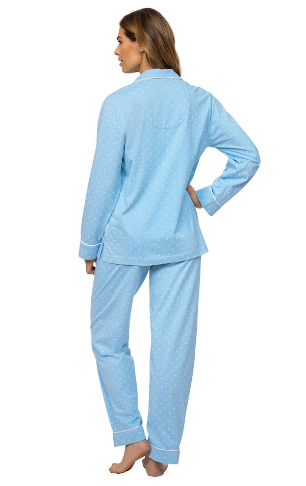 Model wearing Blue Pin Dot Button-Front PJ for Women, facing away from the camera image number 1