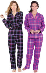 Models wearing Blackberry Plaid Boyfriend Flannel Pajamas and Raspberry Plaid Boyfriend Flannel Pajamas. image number 0