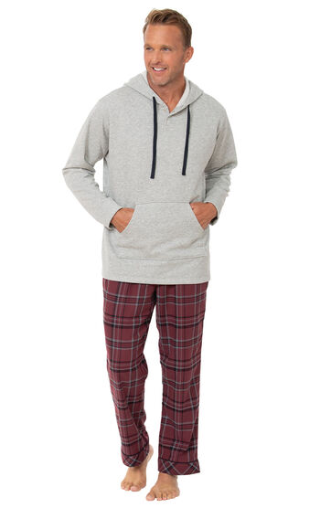 Burgundy Plaid Hooded Men's Pajamas