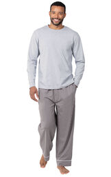 Model wearing Charcoal Gray and White Stripe PJ for Men image number 0