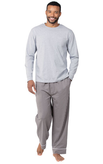 Men's Long-Sleeve Striped Pajamas - Charcoal