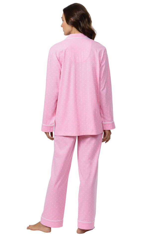 Model wearing Pink Pin Dot Button-Front PJ for Women facing away from the camera image number 1