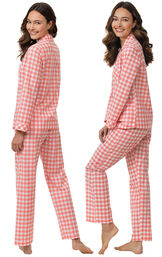 Model wearing Coral Gingham Button-Front PJ for Women, facing away from the camera and then to the side image number 1