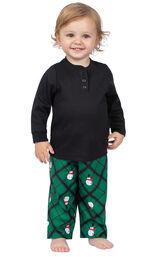 Model wearing Black and Green Snowman Argyle Henley PJ for Infants