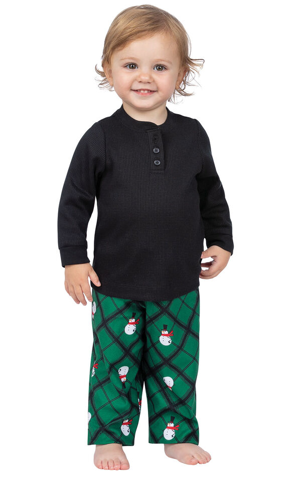 Model wearing Black and Green Snowman Argyle Henley PJ for Infants image number 0