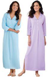 Models wearing Classic Polka-Dot Nighty - Blue and Classic Polka-Dot Nighty - Lavender. image number 0