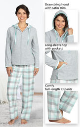 Close-ups of Snuggle Fleece Hoodie Pajamas details which include a drawstring hood with satin trim, long-sleeve top with pockets and comfy full-length PJ pants image number 4