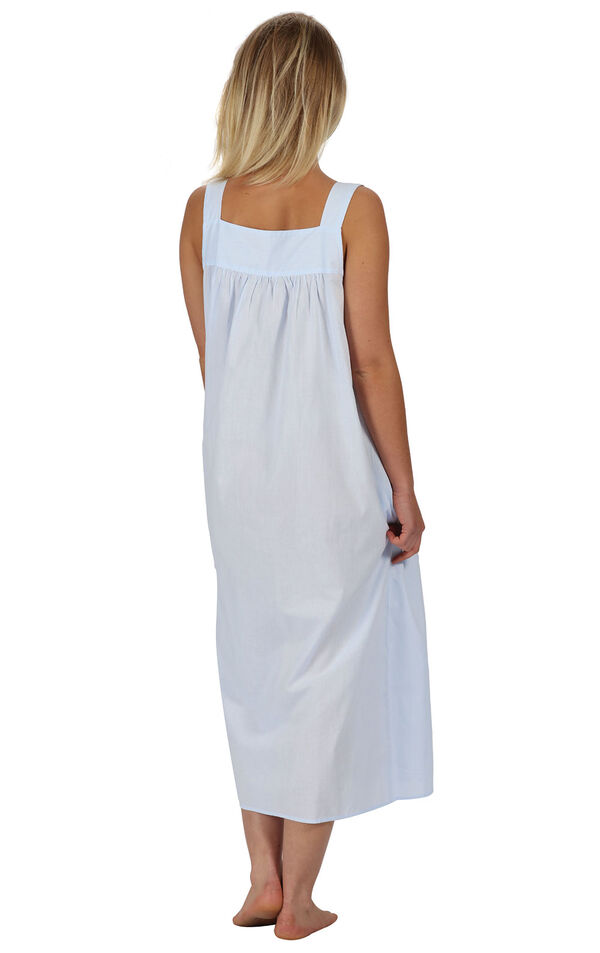 Model wearing Meghan Nightgown in Blue for Women, facing away from the camera image number 1