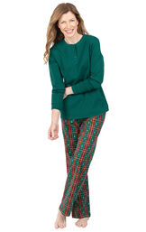 Model wearing Red and Green Christmas Tree Plaid Thermal Top PJ for Women