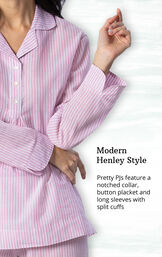 Mauve and White Stripe PJ for Women image number 3