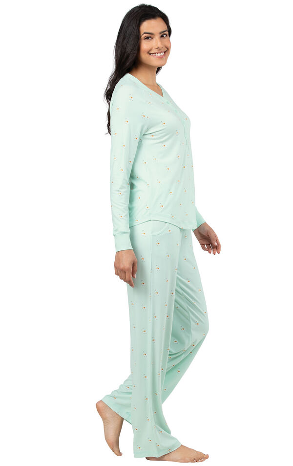 Model wearing Whisper Knit Henley Pajamas - Aqua Llamas, facing to the side image number 2