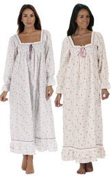 Models wearing Martha Nightgown - Lilac Rose and Martha Nightgown - Vintage Rose image number 0