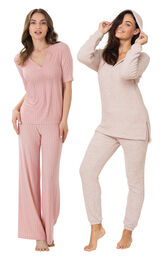 Pink Cozy Escape PJs and Naturally Nude PJs image number 0